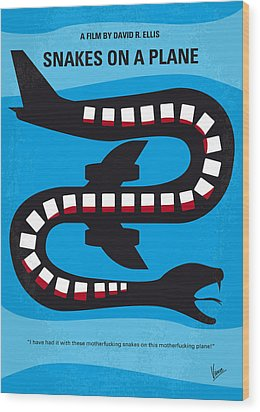No501 My Snakes On A Plane Minimal Movie Poster Wood Print by Chungkong Art