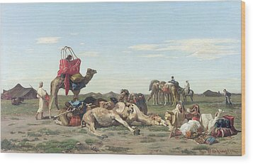 Nomads In The Desert Wood Print by Georges Washington