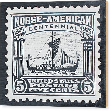 Norse-american Centennial Stamp Wood Print by James Neill