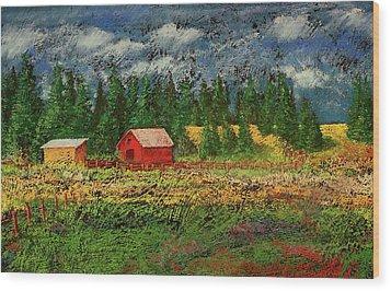 North Idaho Farm Wood Print by David Patterson