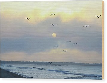 North Wildwood Beach Wood Print by Bill Cannon
