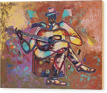 Nothin' But Da Blues Wood Print by Larry Poncho Brown