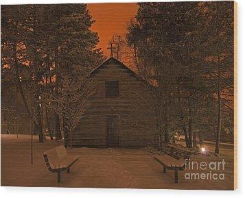 Notre Dame Log Chapel Winter Night Wood Print by John Stephens