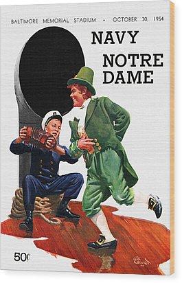 Notre Dame V Navy 1954 Vintage Program Wood Print by Big 88 Artworks