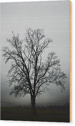 November Tree In Fog Wood Print by Patricia Motley