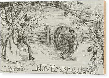 November   Vintage Thanksgiving Card Wood Print by American School