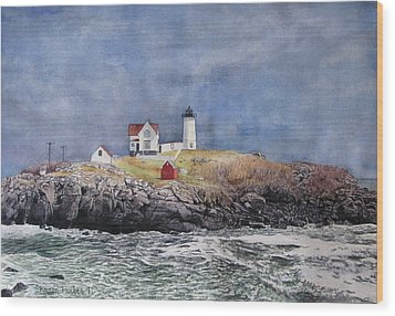 Nubble Lighthouse Wood Print by Sharon Farber