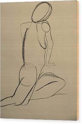 Nude Drawing 2 Wood Print by Kathleen Fitzpatrick