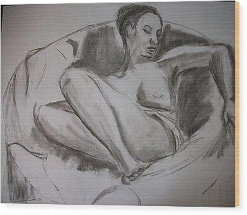Nude In Chair Wood Print by Adam Davis