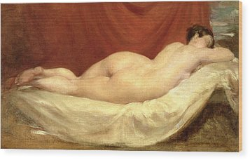 Nude Lying On A Sofa Against A Red Curtain Wood Print by William Etty