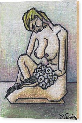 Nude With White Flowers Wood Print by Kamil Swiatek