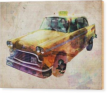 Nyc Yellow Cab Wood Print by Michael Tompsett