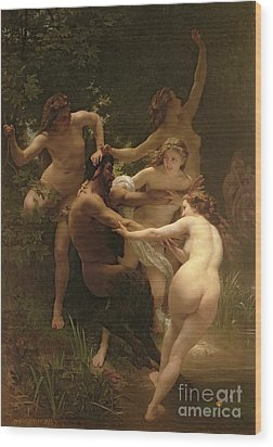 Nymphs And Satyr Wood Print by William Adolphe Bouguereau