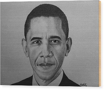 Obama Wood Print by Carlos Velasquez Art