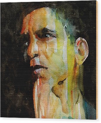 Obama Wood Print by Paul Lovering