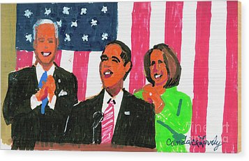 Obama's State Of The Union '10 Wood Print by Candace Lovely