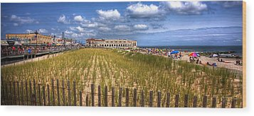 Ocean City Panorama Wood Print by John Loreaux