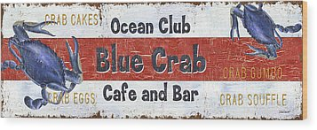 Ocean Club Cafe Wood Print by Debbie DeWitt