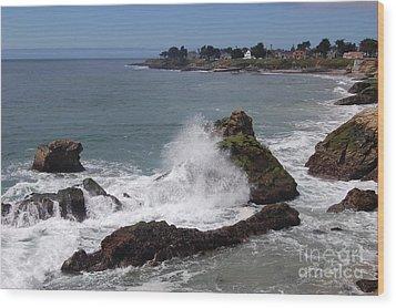 Ocean Spray West Cliff Wood Print by Garnett  Jaeger