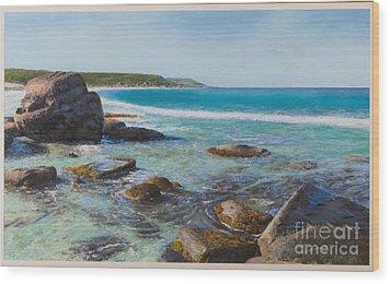 Oceans Edge Wood Print by Gary Leathendale
