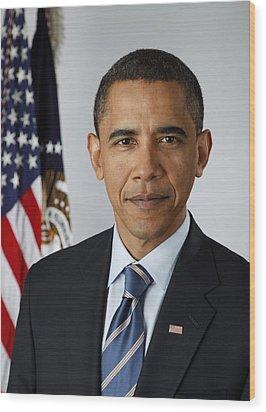 Official Portrait Of President Barack Wood Print by Everett