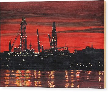 Oil Rigs Night Construction Portland Harbor Wood Print by Dominic White