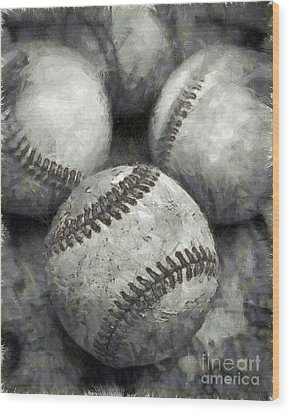 Old Baseballs Pencil Wood Print by Edward Fielding