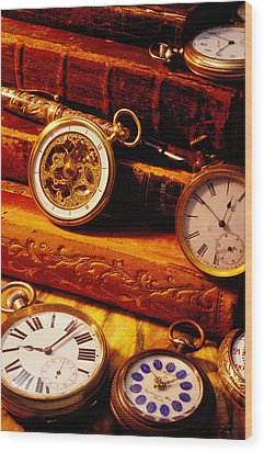 Old Books And Pocket Watches Wood Print by Garry Gay