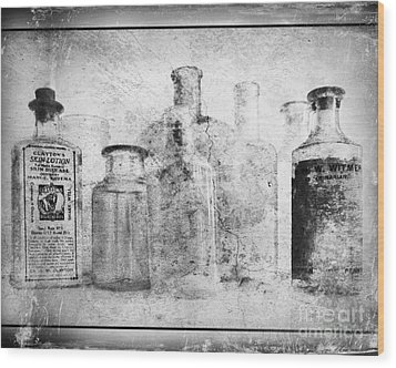 Old Bottles With Texture  Bw Wood Print by Barbara Henry