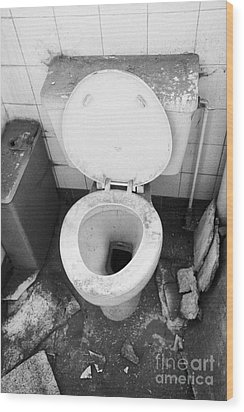 Old Dirt Covered Toilet In An Old Factory Warehouse Unit Belfast Northern Ireland Uk Wood Print by Joe Fox