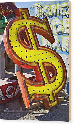 Old Dollar Sign Wood Print by Garry Gay