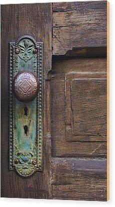 Old Door Knob Wood Print by Joanne Coyle