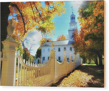 Old First Church Of Bennington Wood Print by Thomas Schoeller