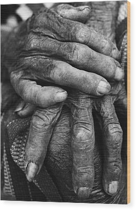 Old Hands 3 Wood Print by Skip Nall