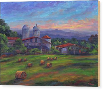 Old Hollabrook Farm At Dusk Wood Print by Jeff Pittman