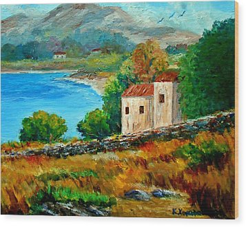 Old House In Mani Wood Print by Constantinos Charalampopoulos