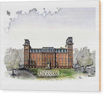 Old Main Of University Of Arkansas Diploma Size Wood Print by Yang Luo-Branch
