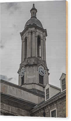 Old Main Penn State Clock  Wood Print by John McGraw