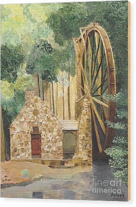Wood Print featuring the painting Old Mill At Berry College by Rodney Campbell