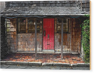 Old Red Door Wood Print by Christopher Holmes