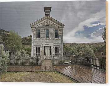 Old School House After Storm - Bannack Montana Wood Print by Daniel Hagerman