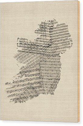 Old Sheet Music Map Of Ireland Map Wood Print by Michael Tompsett