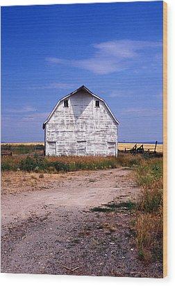 Old White Barn Wood Print by Kathy Yates