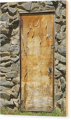 Old Wood Door And Stone - Vertical  Wood Print by James BO  Insogna