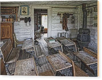 Oldest School House C. 1863 - Montana Territory Wood Print by Daniel Hagerman
