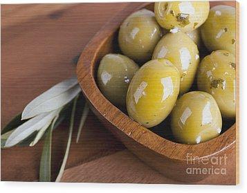 Olive Bowl Wood Print by Jane Rix