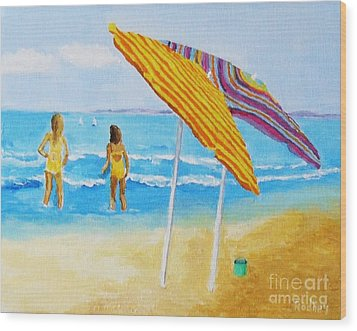 Wood Print featuring the painting On The Beach by Rodney Campbell