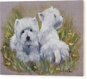 On The Lawn Wood Print by Mary Sparrow