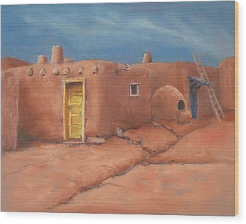One Yellow Door Wood Print by Jerry McElroy