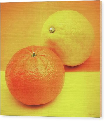 Orange And Lemon Wood Print by Wim Lanclus